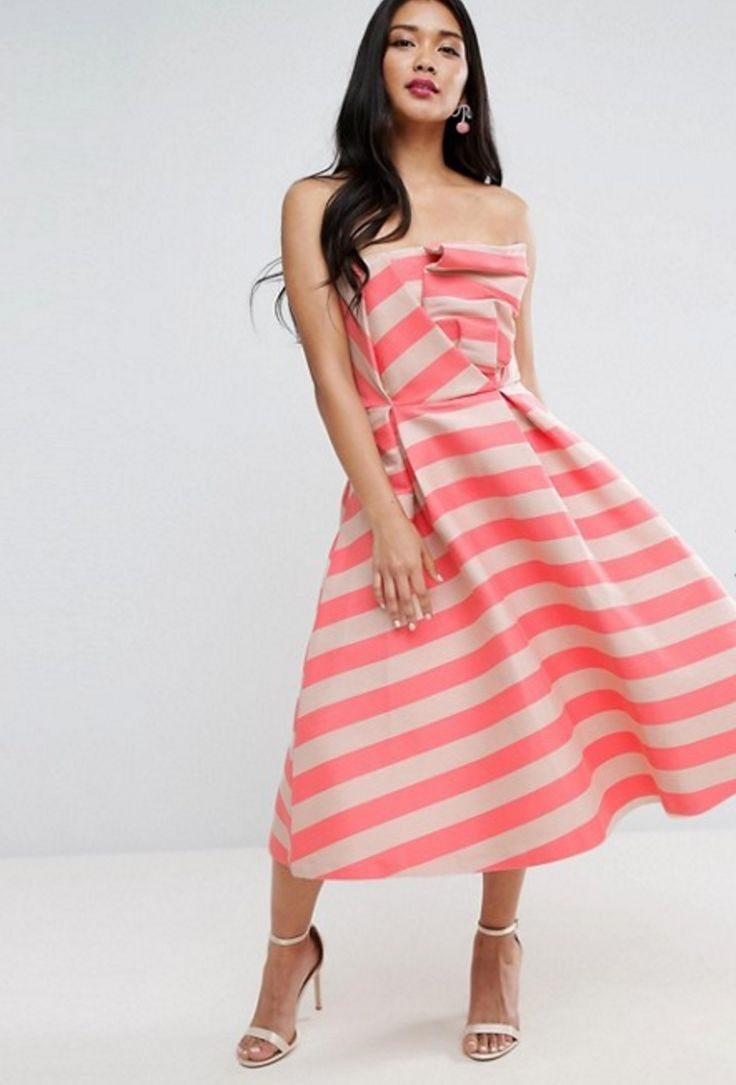 Stripe bandeau dress, ASOS. Wedding guest dress #wedding #guest #dress