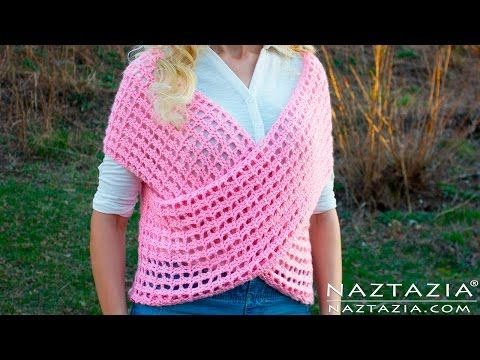 DIY Tutorial - Crochet Wrap Sweater Vest - Criss Cross Wrapped Front Top Tunic - YouTube