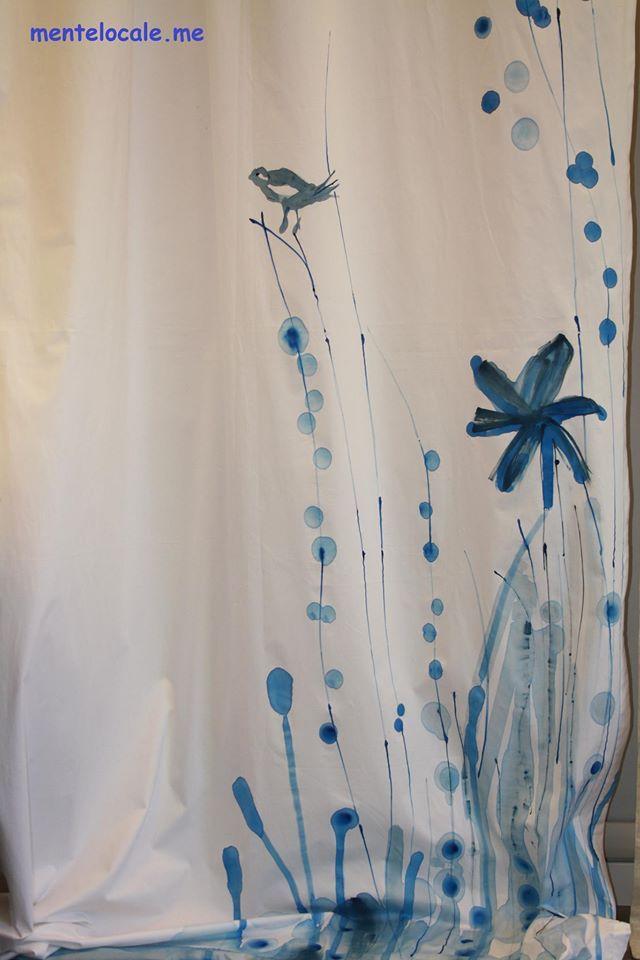 Tenda in cotone dipinta a mano.