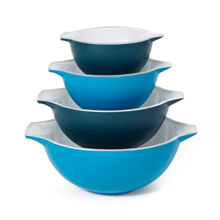 Creo 4-Piece SmartGlass Nesting Bowls, Mediterranean Blue