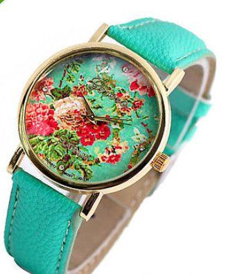 Floral mint green watch http://www.peachiecream.co.uk/#!watches/cybi