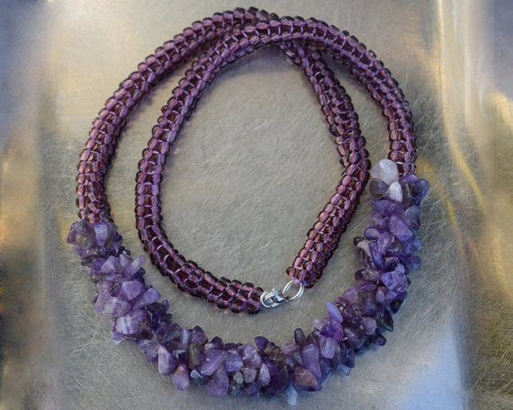Tubular, amethyst (semi-precious stone) chips and semi transparent purple sand bead necklace 57 cm (22.44 in)