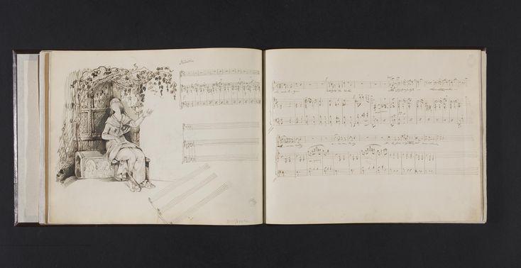 """Cyprian Kamil Norwid, Pieśń """"Życzenie"""" Fryderyka Chopina (op. 74 nr 1) z ilustracją ukazującą dziewczynę siedzącą po oknem, [1845–1846] pióro, atrament żelazowo-galasowy; papier, Muzeum Narodowe w Warszawie"""