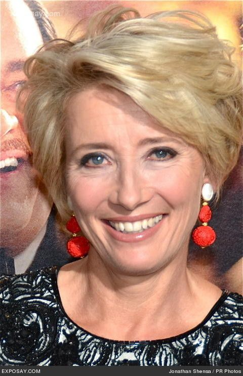 Spotted: Emma Thompson wearing Laurence Coste Mother of Pearl and Sculptered Red Bamboo Earrings