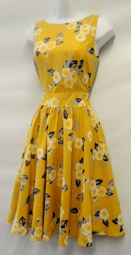 New Ladies Vtg 1950s/60s Yellow floral full circle skirt Audrey swing Dress | eBay