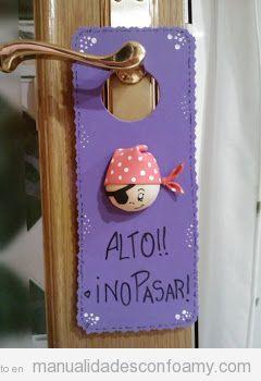 Manualidades niños, colgador para pomo de puerta habitación infantil, pirata