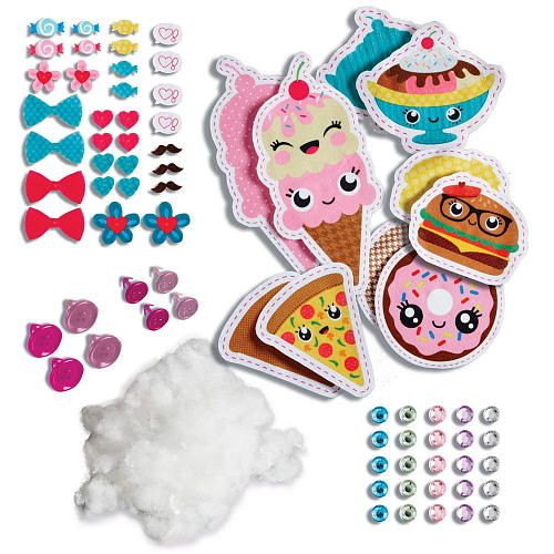 """Kids 6+ can """"sew"""" funny stuffed food characters using the special fabric and accessories in this kit, but you'll need the Sew Cool sewing machine, which is sold separately. Description from timetoplaymag.com. I searched for this on bing.com/images"""