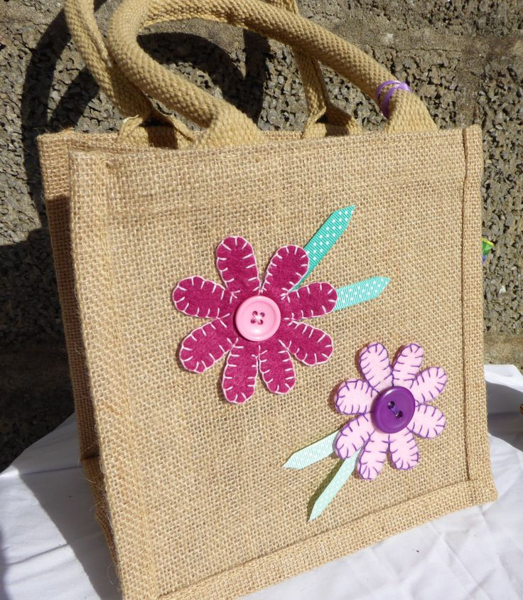 Handcrafted Pink Daisy Small Hessian Bag by TheHoneyPotGifts on Etsy