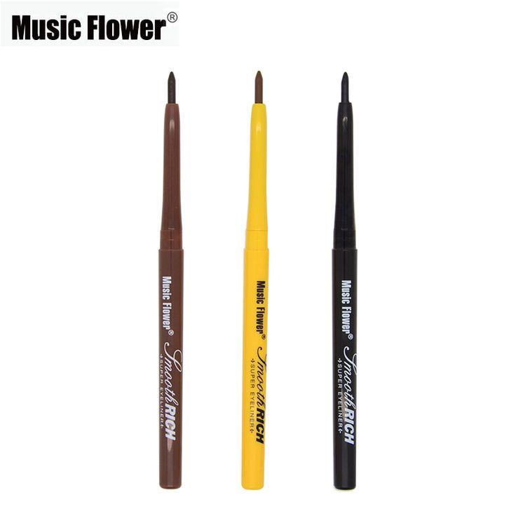 Fiore musica Marca 3 Colore Nero Marrone Chiaro Marrone Super-Eyeliner penna di Trucco Eyeliner Matita Liscio Morbido 24 H Impermeabile Make Up