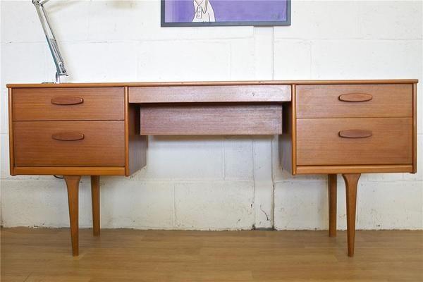 Mid Century Retro Danish Style Teak Austinsuite Desk Dressing Table | Vinterior   #midcentury #modern #20thcentury