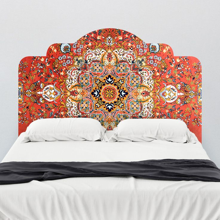 Reusable and Removable Wall Decals!Vintage Rug Adhesive Headboard!! Wallsneedlove.com  It's an adhesive headboard that looks like a rug!