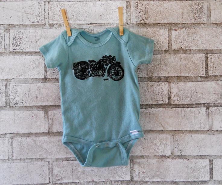 Triumph motorcycle baby onesie, baby boy bodysuit, great baby shower gift. $16.00, via Etsy.   #motobaby #bikerbaby