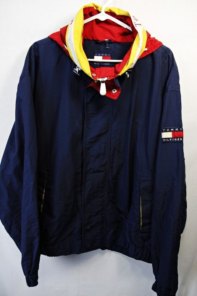 vintage 90 39 s tommy hilfiger color block hoodie windbreaker jacket sz xl blue future closet. Black Bedroom Furniture Sets. Home Design Ideas