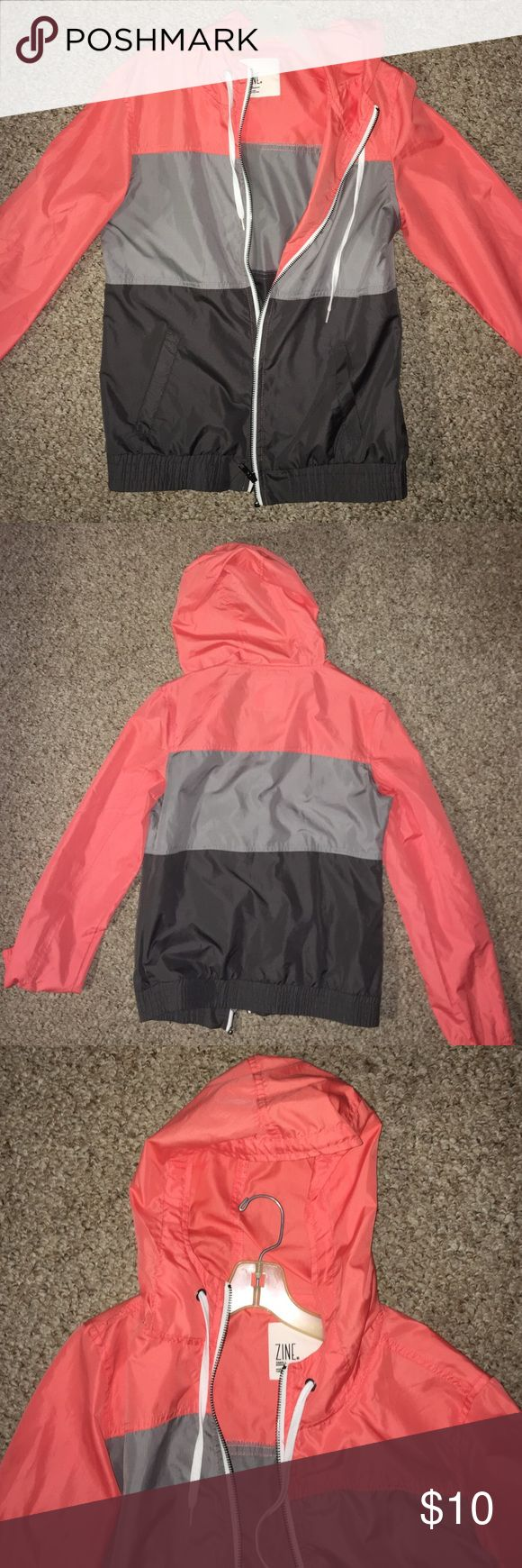 Cute rain jacket! Stylish rain jacket/ wind breaker. Only worn once!! In great condition Zine Jackets & Coats