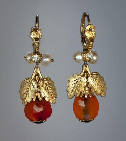 Gruzínský Era Vzácné Antique ruský Amber náušnice c. 1780 - Starožitné šperky | Klasické kroužky | Faberge vejce