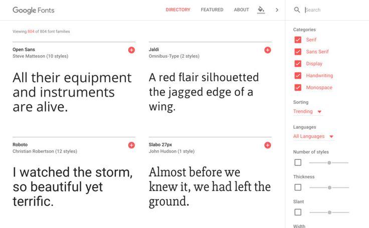 Google Fonts new UI design.