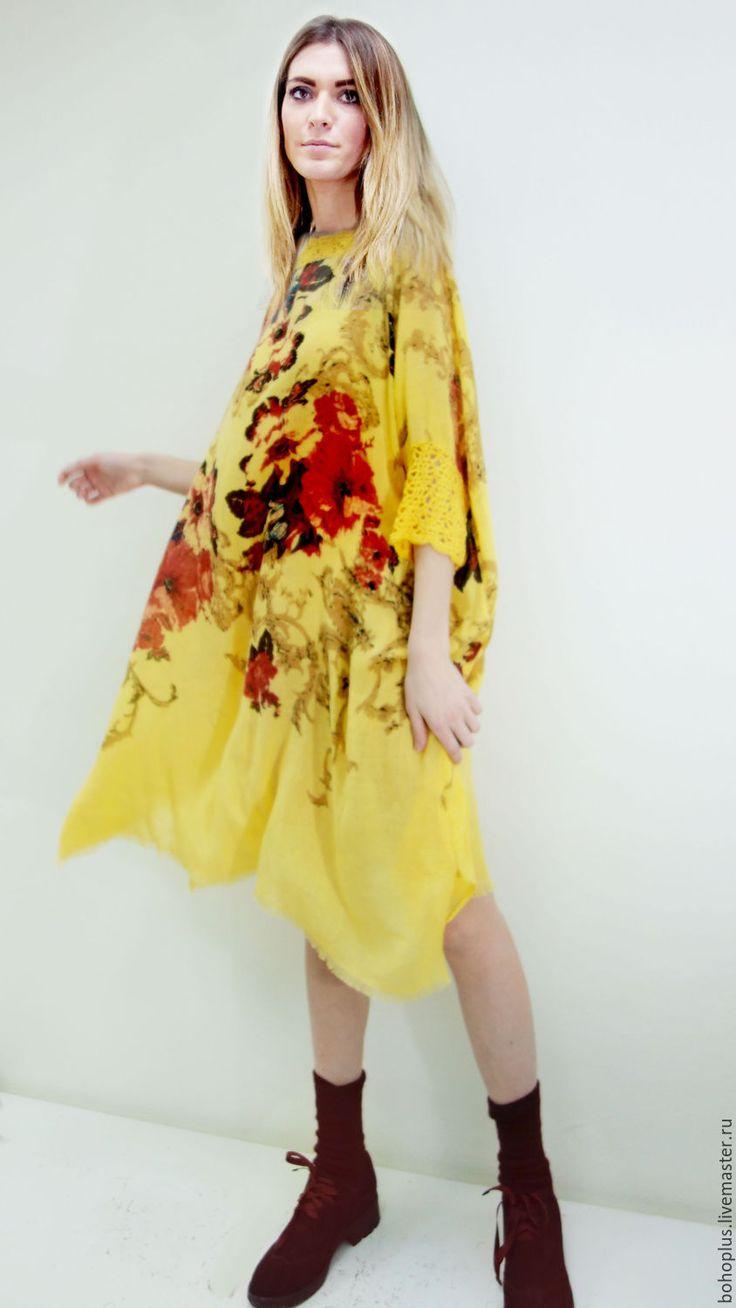 "Купить Туника-платье оверсайз ""Софи3"" - желтый, цветочный, платье, туника, ярко желтый, принт"