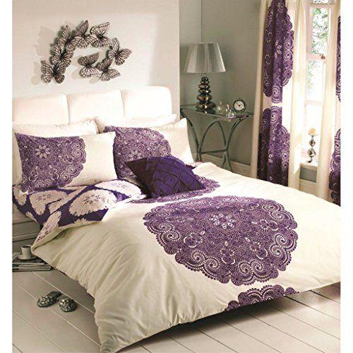 new baroque floral duvet cover reversible bedding cream aubergine purple bed set aubergine cream purple king size