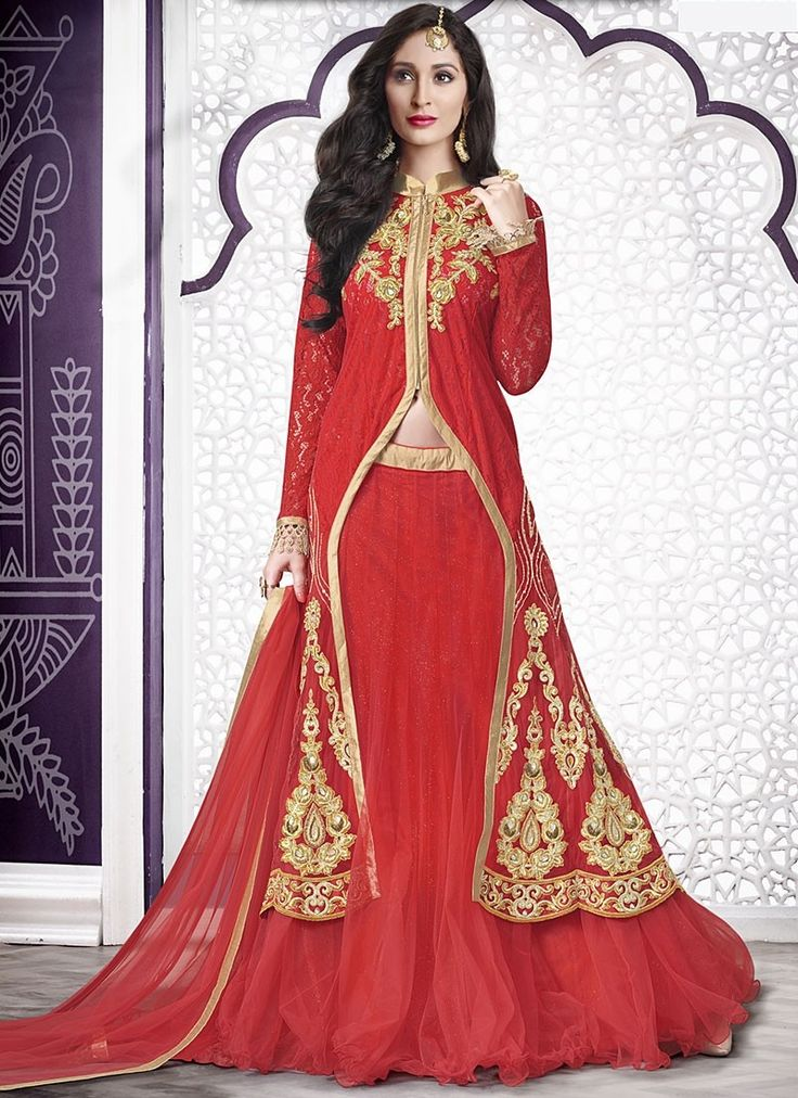 Lehenga Choli rouge Le célèbre Rouge Lycra fabrication Net - Avena sari