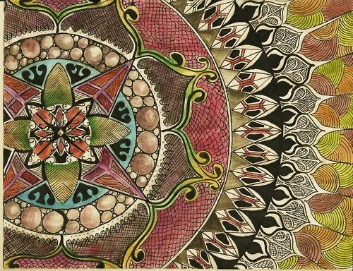 mandala is the name of the circular pattern, which is religious in nature