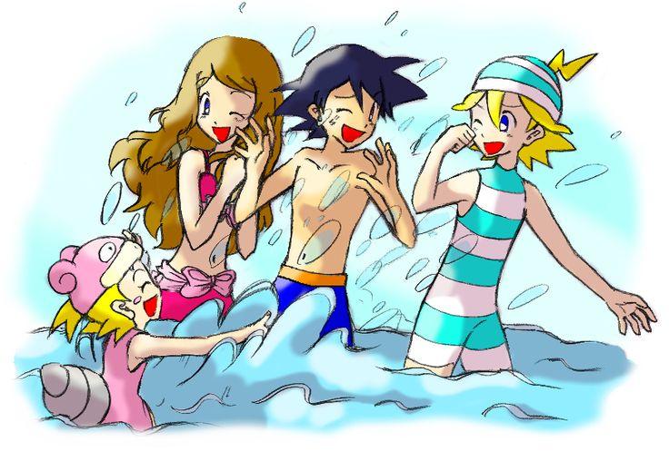 Pokemon XY anime. Serena, Ash, Bonnie, and Clemont