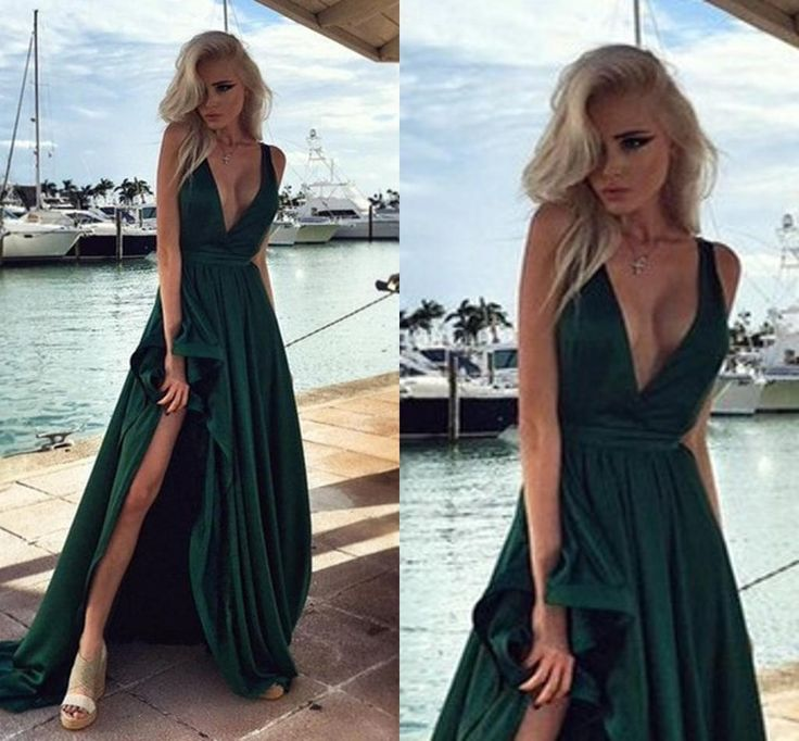 Hunter Green Elegant Long Prom Dresses Side Split V Neck Backless Evening Gowns 2016 Satin Vestido De Festa Party Dress