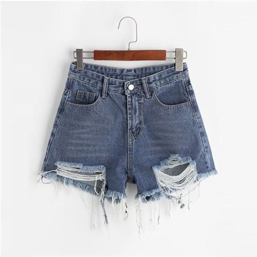 Frayed Edge Denim Shorts 2019 Blue Solid Basic Zipper Fly Summer Women Shorts Mid Waist Straight Leg Shorts Blue M 1