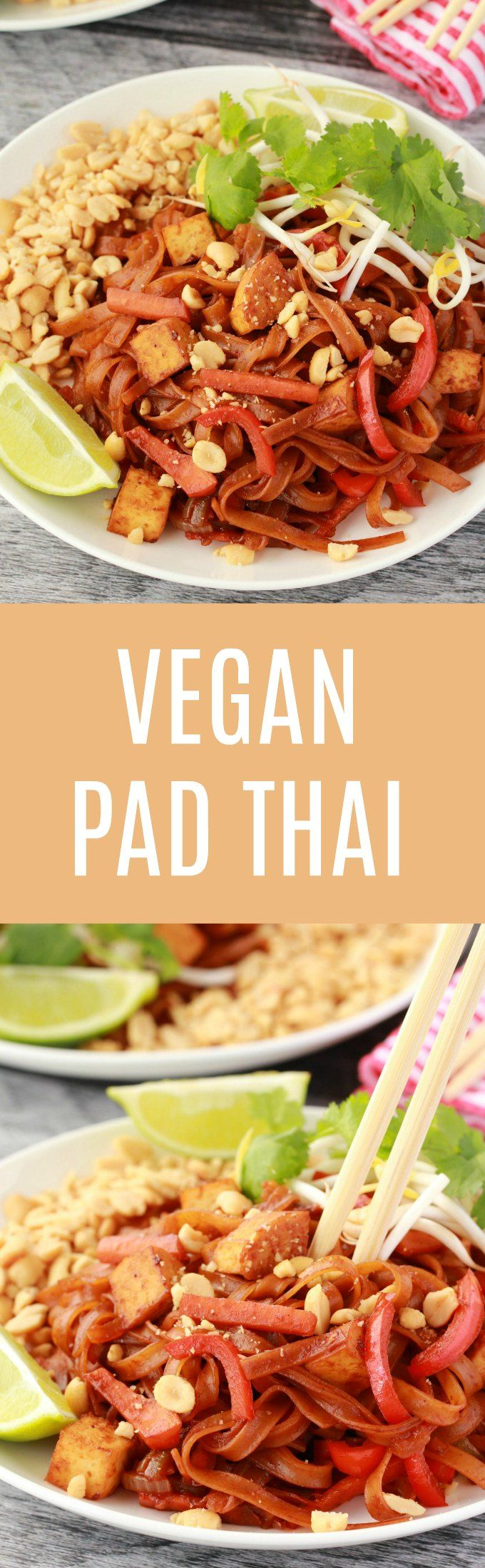 Deliciously flavorful vegan pad thai. This easy, colorful and filling dish has a fabulously authentic flavor, comes together in an hour or less and is gluten-free. #vegan #glutenfree #dairyfree #padthai #vegandinner | lovingitvegan.com