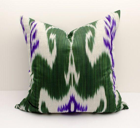20x20 green violet ikat pillow cover ikat pillows ikat