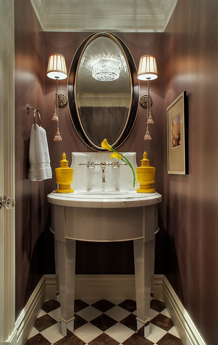 A powder room is a great space to make a bold statement. #TeerlinkCabinet #forthehome #interiordesign #bathroom #home #customcabinets