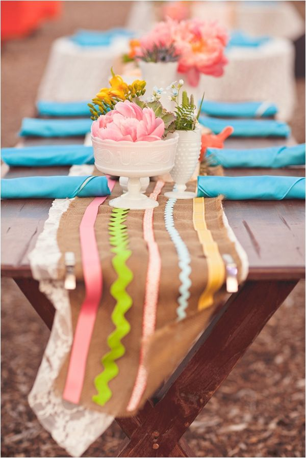 ricrac and ribbon sewed onto the table runner for a pop of color // photo by nbarrett photography: White Vase, Summer Picnic, Pop Of Colors, Ranch Wedding, Tables Runners, Parties Tables, Ribbons Sewing, Bold Colors, Bright Colors