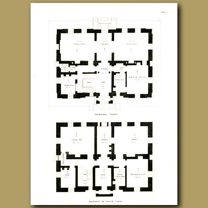 30 x 22 cm (12 x 8.7 inches).Plans of the principal floor and basementThis  antique engraving was made in 1833 by Francis Goodwin, an English architect. It is from his work