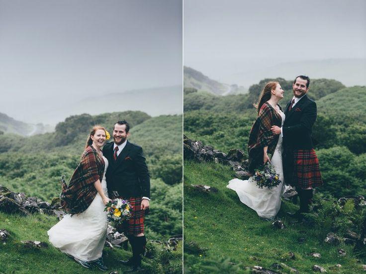 Scottish elopement wedding photography, Fairy Glen, Isle of Skye, Scotland. Outdoor reportage photography by Wilson McSheffrey. Intimate handfast ceremony.