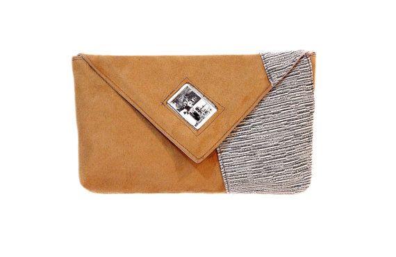 Beige clutch bag with Audrey Hepburn picture under by meerrorart