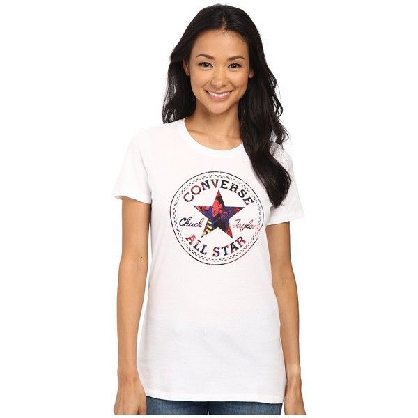 Converse Pop Chuck Patch Footwear Fill Short Sleeve Crew Tee Women's T... ($25) ❤ liked on Polyvore featuring tops, t-shirts, white crew t shirt, cotton t shirt, converse t shirt, lightweight cotton t shirts and white t shirt