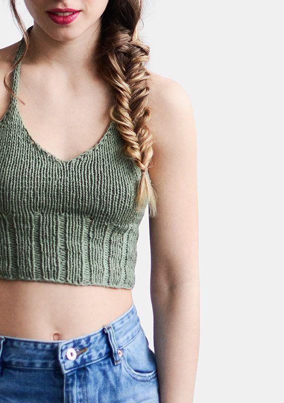 Hand knit halter crop top - bralette.