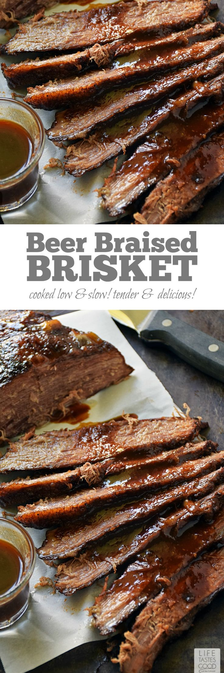 Beer Braised Beef Brisket | by Life Tastes Good is cooked low and slow for maximum deliciousness. The brisket is braised in stout beer that cooks down and leaves behind a deep, rich flavor that mingles nicely with the natural flavor of the beef. #LTGrecipes #SundaySupper @beeffordinner #ad