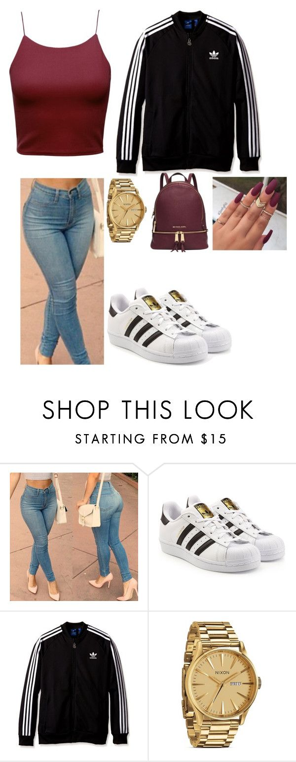 """Adidas Superstar Outfit"" by battle-jakeria on Polyvore featuring adidas Originals, Nixon and Michael Kors"