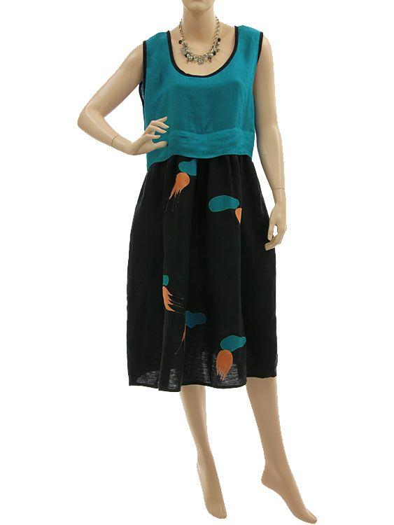 Artsy boho dress with higher waistline linen in black teal M-L - Artikeldetailansicht - CLASSYDRESS Lagenlook Art to Wear Women's Clothing