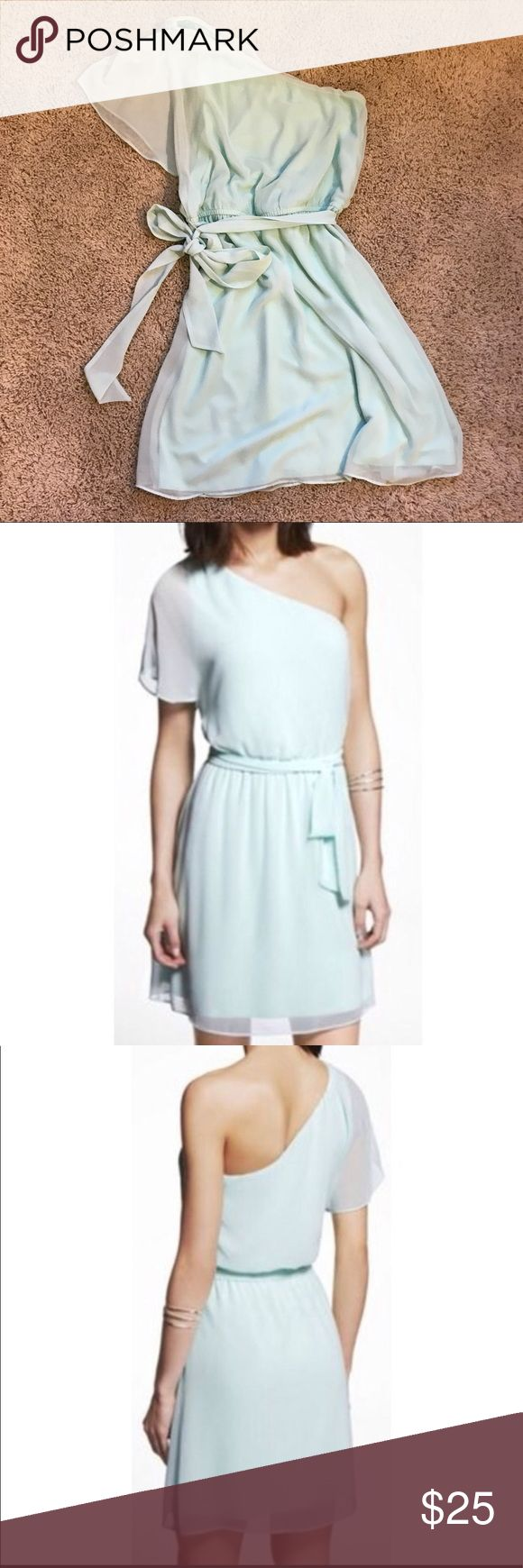 Mint green one shoulder chiffon dress Wore only a couple of hours for a wedding. Flowy chiffon dress with a removable tie around the cinched waist. Express Dresses One Shoulder