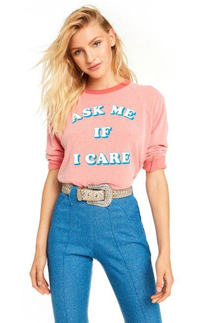 2798585ae08 Wildfox American Honey  Ask Me If I Care Junior Sweatshirt ...