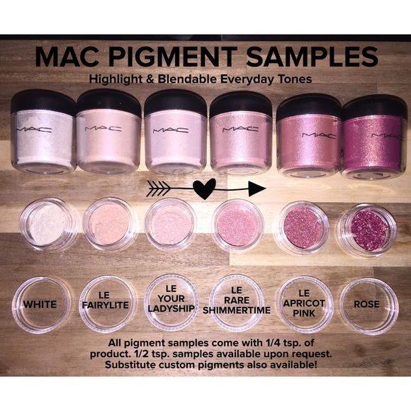 AUTH MAC Pigment Samples Highlight & Pretty Pinks Please ready full description!  You will get six 1.2 ML or one 1/4 tsp. of 100% authentic MAC pigments, some limited edition rare items. These will come in 3g. individual jars! Please see size comparison to ring in last picture.  You will get the following pigments: white, fairylite (LE, rare), your ladyship (LE,rare), shimmertime (LE, Rare), apricot pink (LE, rare) & rose. Can substitute other pigments by request if you already have some of…