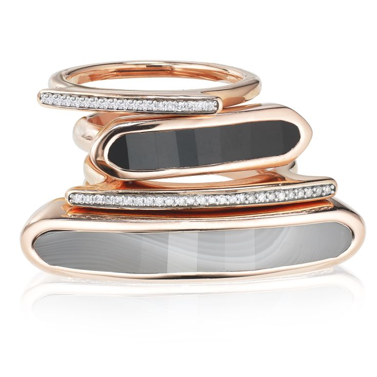 Create your perfect stack using our Baja Gemstone #stackingrings and Skinny Diamonds