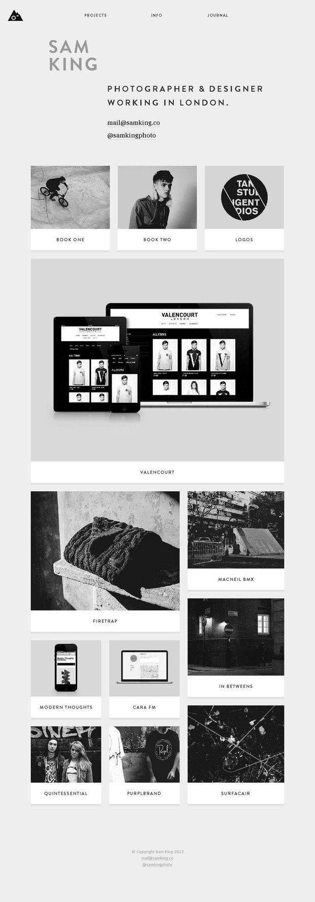Sam King - Webpage of a Photographer & Designer | Design: UI/UX. Apps. Websites |