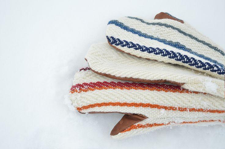 Kuura mittens in 3 color variations. Made from wool and reindeer leather. Prototype. Rovaniemi, Finland. Design by Riina Kittilä and Tiina Jaakkola.