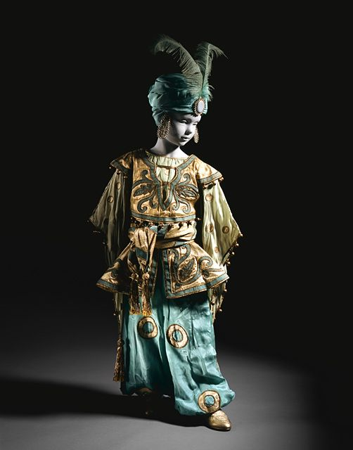 """1926 Fancy Dress """"Young Princess of Lotusland"""" Costume via Ballets Russes and Erté: Theater Costume in LACMA's Collection. Los Angeles County Museum of Art."""
