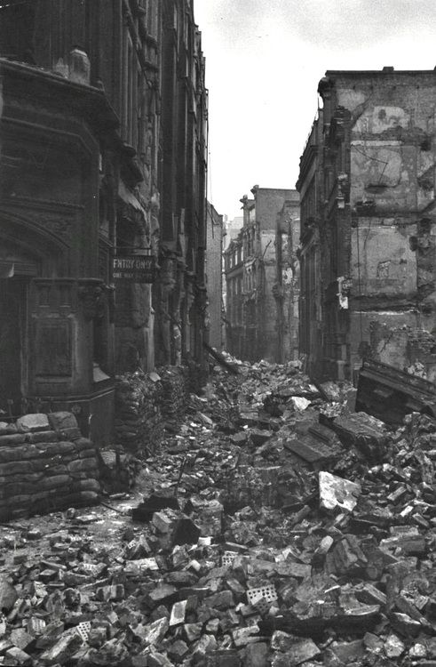 The streets of a ruined London after The Blitz, 1940.