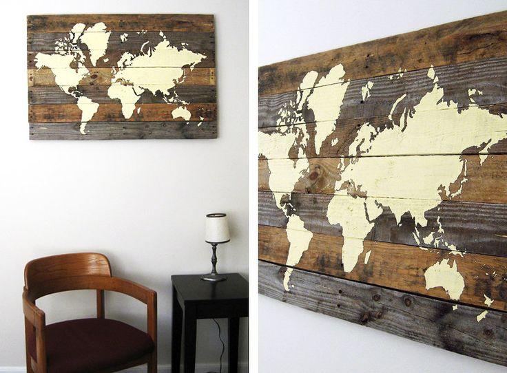 Pallet Board World Map  #Canvas, #Framework, #Pallet