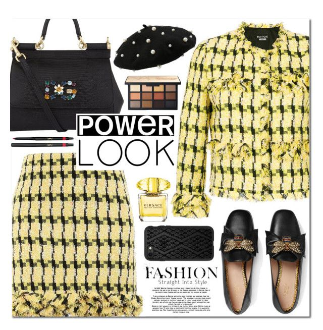 """""""Tweed"""" by alexa-girl2 ❤ liked on Polyvore featuring Boutique Moschino, Gucci, Dolce&Gabbana, Casetify, Versace and Yves Saint Laurent"""