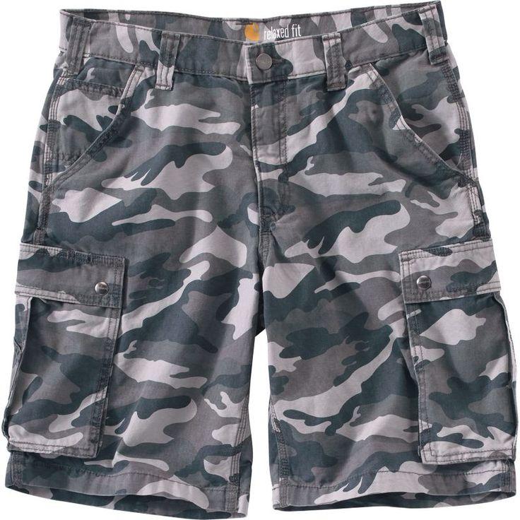 Carhartt Men's Rugged Cargo Camo Work Shorts, Size: 30, Gray